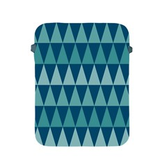 Blues Long Triangle Geometric Tribal Background Apple Ipad 2/3/4 Protective Soft Cases by AnjaniArt