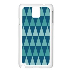 Blues Long Triangle Geometric Tribal Background Samsung Galaxy Note 3 N9005 Case (white) by AnjaniArt