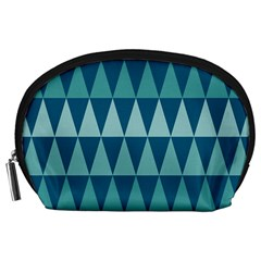Blues Long Triangle Geometric Tribal Background Accessory Pouches (large)  by AnjaniArt