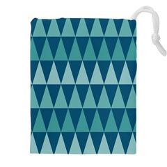 Blues Long Triangle Geometric Tribal Background Drawstring Pouches (xxl) by AnjaniArt