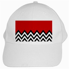 Chevron Red White Cap by AnjaniArt