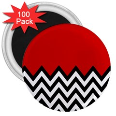 Chevron Red 3  Magnets (100 Pack)