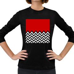 Chevron Red Women s Long Sleeve Dark T Shirts