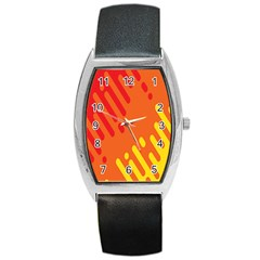 Color Minimalism Red Yellow Barrel Style Metal Watch by AnjaniArt