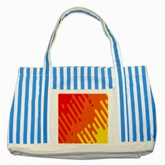 Color Minimalism Red Yellow Striped Blue Tote Bag by AnjaniArt