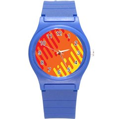 Color Minimalism Red Yellow Round Plastic Sport Watch (s)
