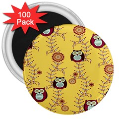 Cheery Owls Yellow 3  Magnets (100 Pack)