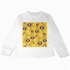 Cheery Owls Yellow Kids Long Sleeve T Shirts