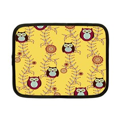 Cheery Owls Yellow Netbook Case (small)  by AnjaniArt