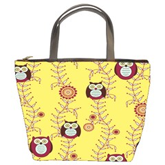 Cheery Owls Yellow Bucket Bags by AnjaniArt