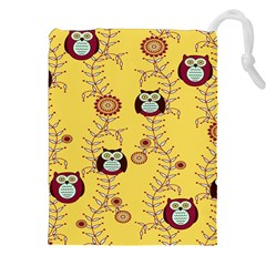 Cheery Owls Yellow Drawstring Pouches (xxl) by AnjaniArt