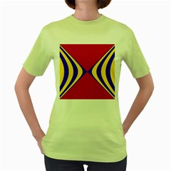 Concentric Hyperbolic Red Yellow Blue Women s Green T Shirt by AnjaniArt