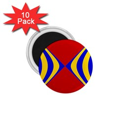 Concentric Hyperbolic Red Yellow Blue 1 75  Magnets (10 Pack)