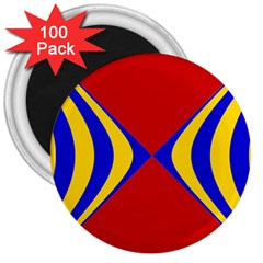 Concentric Hyperbolic Red Yellow Blue 3  Magnets (100 Pack) by AnjaniArt