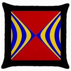 Concentric Hyperbolic Red Yellow Blue Throw Pillow Case (black) by AnjaniArt