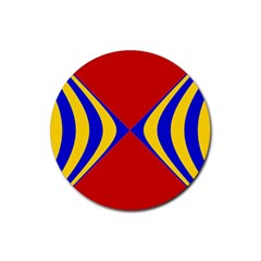 Concentric Hyperbolic Red Yellow Blue Rubber Round Coaster (4 Pack)
