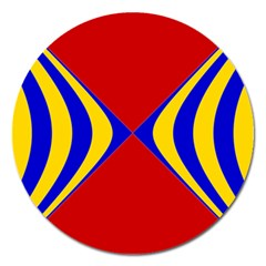 Concentric Hyperbolic Red Yellow Blue Magnet 5  (round) by AnjaniArt