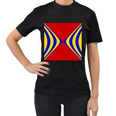 Concentric Hyperbolic Red Yellow Blue Women s T Shirt (black) (two Sided) by AnjaniArt