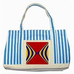 Concentric Hyperbolic Red Yellow Blue Striped Blue Tote Bag