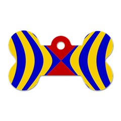 Concentric Hyperbolic Red Yellow Blue Dog Tag Bone (two Sides) by AnjaniArt