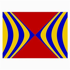 Concentric Hyperbolic Red Yellow Blue Large Glasses Cloth by AnjaniArt
