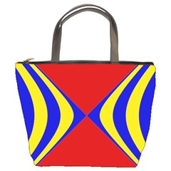 Concentric Hyperbolic Red Yellow Blue Bucket Bags