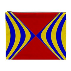 Concentric Hyperbolic Red Yellow Blue Cosmetic Bag (xl) by AnjaniArt