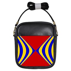 Concentric Hyperbolic Red Yellow Blue Girls Sling Bags by AnjaniArt