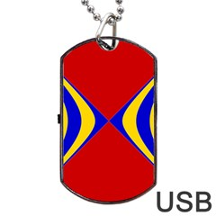 Concentric Hyperbolic Red Yellow Blue Dog Tag Usb Flash (two Sides)  by AnjaniArt