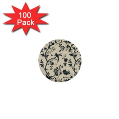 Cottonwood White Leaf Wallpaper Bird 1  Mini Buttons (100 Pack)