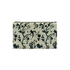 Cottonwood White Leaf Wallpaper Bird Cosmetic Bag (small)  by AnjaniArt