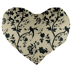 Cottonwood White Leaf Wallpaper Bird Large 19  Premium Heart Shape Cushions by AnjaniArt