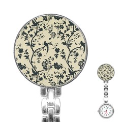 Cottonwood White Leaf Wallpaper Bird Stainless Steel Nurses Watch by AnjaniArt