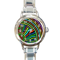 Colorful Cat Round Italian Charm Watch by AnjaniArt