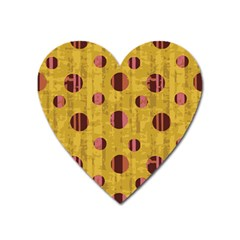 Dot Mustard Heart Magnet by AnjaniArt