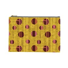 Dot Mustard Cosmetic Bag (large)  by AnjaniArt