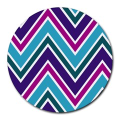 Fetching Chevron White Blue Purple Green Colors Combinations Cream Pink Pretty Peach Gray Glitter Re Round Mousepads by AnjaniArt