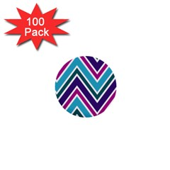 Fetching Chevron White Blue Purple Green Colors Combinations Cream Pink Pretty Peach Gray Glitter Re 1  Mini Buttons (100 Pack)