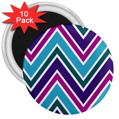 Fetching Chevron White Blue Purple Green Colors Combinations Cream Pink Pretty Peach Gray Glitter Re 3  Magnets (10 Pack)