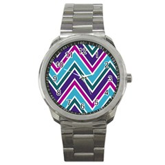 Fetching Chevron White Blue Purple Green Colors Combinations Cream Pink Pretty Peach Gray Glitter Re Sport Metal Watch