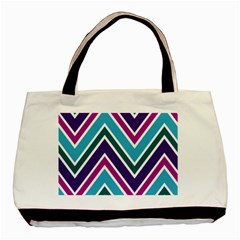Fetching Chevron White Blue Purple Green Colors Combinations Cream Pink Pretty Peach Gray Glitter Re Basic Tote Bag by AnjaniArt