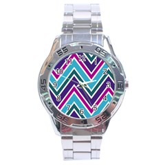Fetching Chevron White Blue Purple Green Colors Combinations Cream Pink Pretty Peach Gray Glitter Re Stainless Steel Analogue Watch