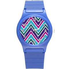 Fetching Chevron White Blue Purple Green Colors Combinations Cream Pink Pretty Peach Gray Glitter Re Round Plastic Sport Watch (s)
