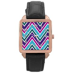 Fetching Chevron White Blue Purple Green Colors Combinations Cream Pink Pretty Peach Gray Glitter Re Rose Gold Leather Watch  by AnjaniArt
