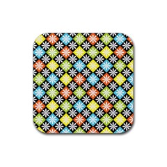 Diamond Argyle Pattern Flower Rubber Square Coaster (4 Pack)