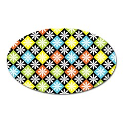Diamond Argyle Pattern Flower Oval Magnet by AnjaniArt
