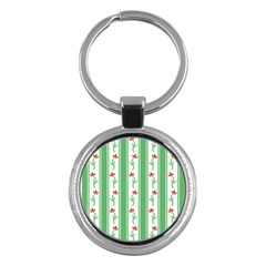 Flower Background Green Key Chains (round)  by AnjaniArt