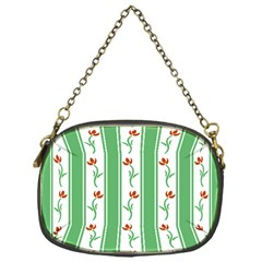 Flower Background Green Chain Purses (one Side)