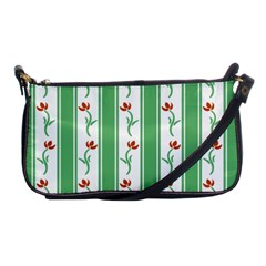Flower Background Green Shoulder Clutch Bags by AnjaniArt