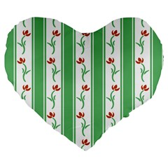 Flower Background Green Large 19  Premium Heart Shape Cushions